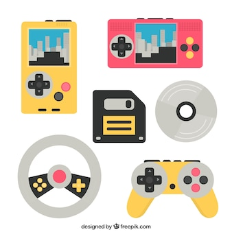 Różne akcesoria i konsole do gier wideo w płaskiej konstrukcji