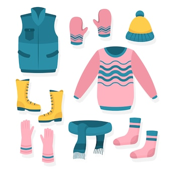 Różne akcesoria i ubrania na zimę