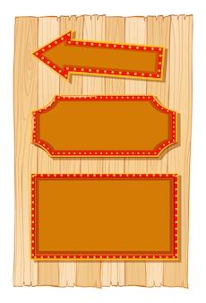 Różne banery znak na drewnianej ścianie