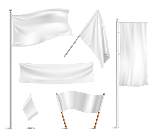 Różne białe flagi i banery piktogramy kolekcji