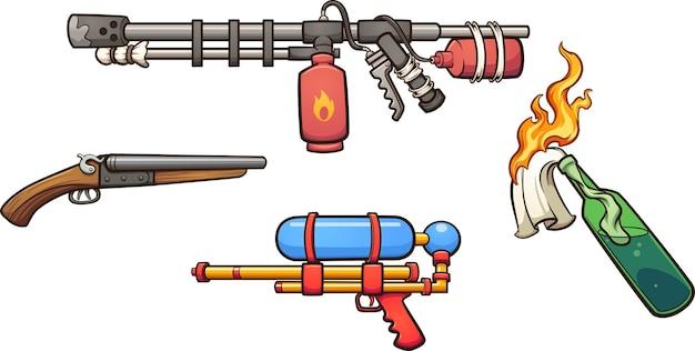 Różne bronie z kreskówek