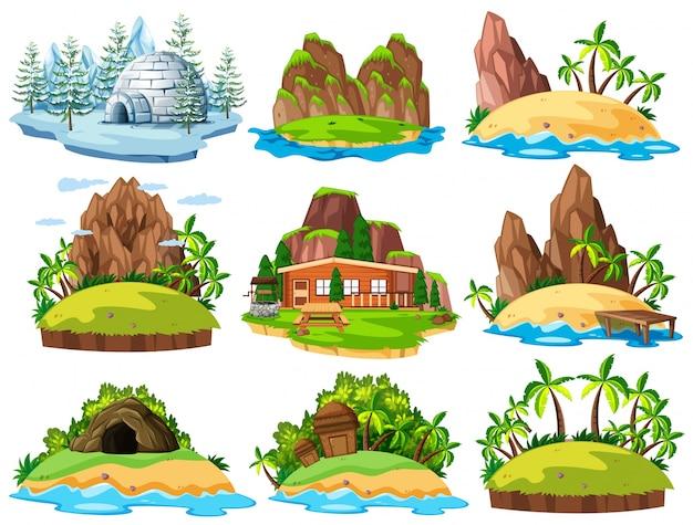 Różne budynki i rzeczy na wyspach