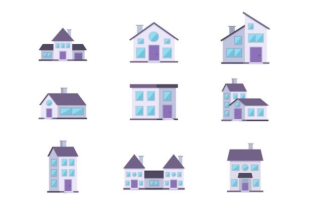 Różne budynki mieszczą zestaw elewacji mieszkalnych