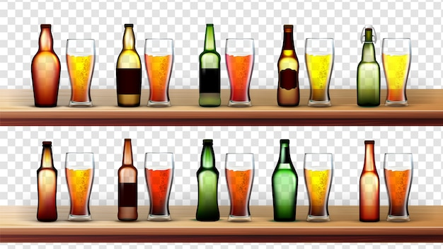Różne butelki i szklanki z piwem
