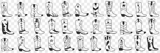 Różne buty kowbojskie doodle zestaw