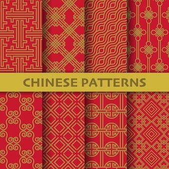 Różne chińskie, japońskie i azjatyckie kultury wektorowe bez szwu wzorów