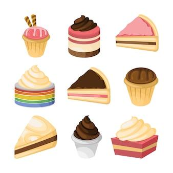 Różne ciasto i słodki zestaw ilustracji