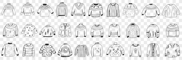 Różne ciepłe swetry z dzianiny doodle zestaw. kolekcja ręcznie rysowane stylowe eleganckie kurtki swetry rozpinane z różnymi wzorami na zimno na białym tle
