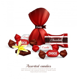 Różne cukierki czekoladowe w kolorowych foliowych opakowaniach ze świeżym, realistycznym napisem reklamowym z kompozycją kwiatów wanilii