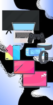 Różne cyfrowe gadżety cyber poniedziałek online sprzedaż plakat reklama ulotka wakacje zakupy promocja baner rabat koncepcja pionowa ilustracja wektorowa