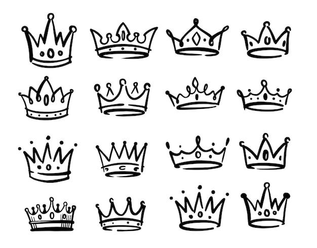 Różne czarne korony doodle