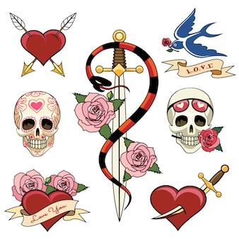 Różne czaszki serca i sztylet