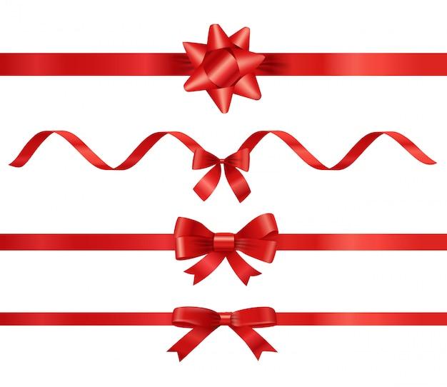 Różne czerwone wstążki zestaw na białym tle