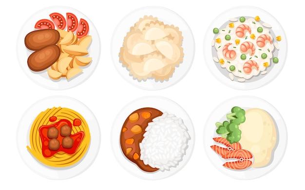 Różne dania na talerzach. tradycyjne potrawy z całego świata. ikony logo i etykiet menu. płaskie ilustracja na białym tle.