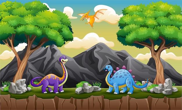 Różne dinozaury na wzgórzu