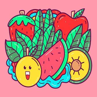 Różne doodle kawaii szablon s