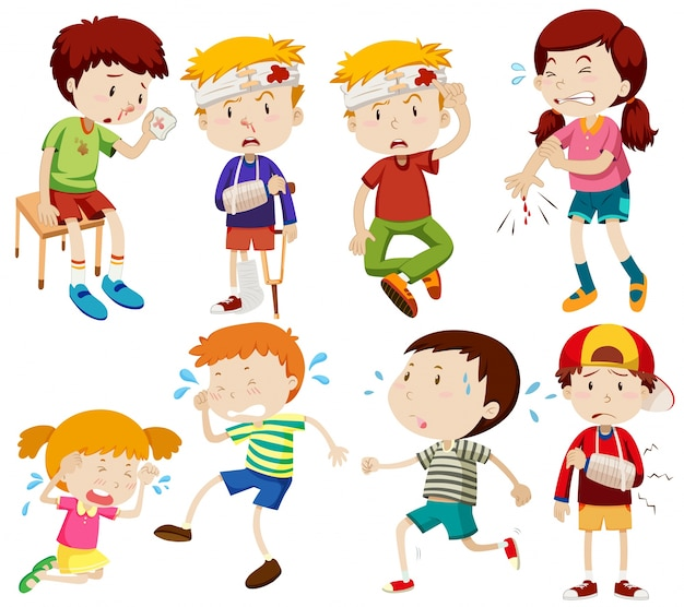 Różne dzieci są chore i zranienia