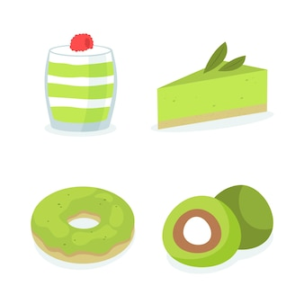 Różne ekologiczne słodycze z matcha
