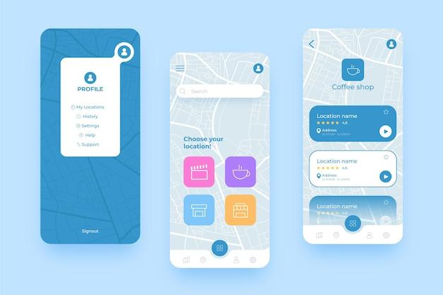 Różne ekrany aplikacji lokalizacyjnej