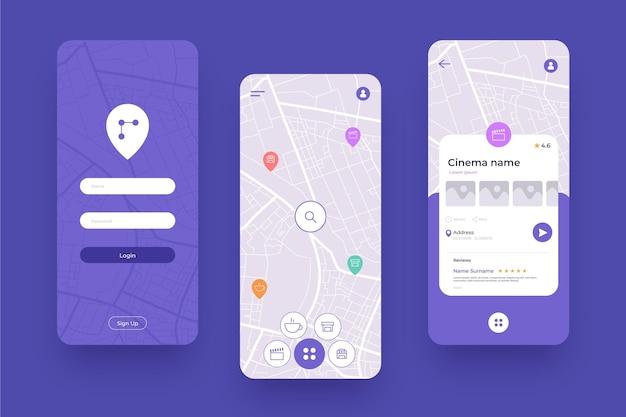 Różne ekrany aplikacji mobilnej lokalizacji