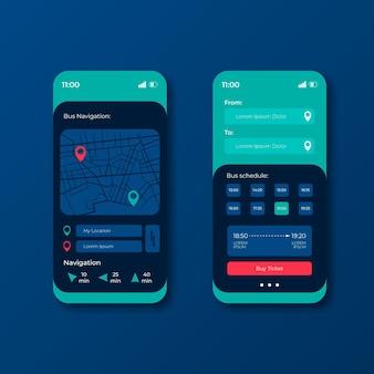 Różne ekrany aplikacji mobilnej transportu publicznego