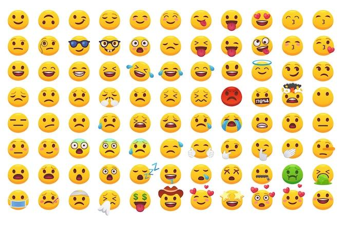 Różne emotikony stoją przed dużym zestawem płaskich ikon