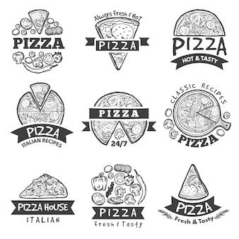 Różne etykiety do pizzerii. klasyczne włoskie jedzenie