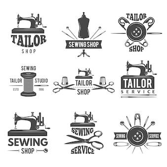 Różne etykiety lub logo ustawione dla sklepu krawieckiego