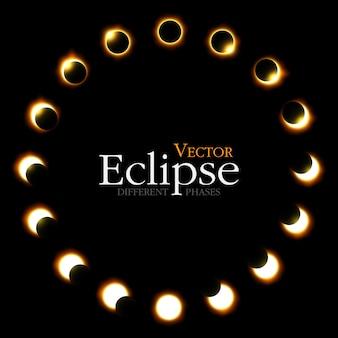 Różne fazy zaćmienia słońca i księżyca