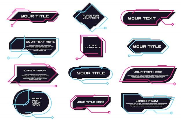 Różne futurystyczne tytuły i banery płaski zestaw