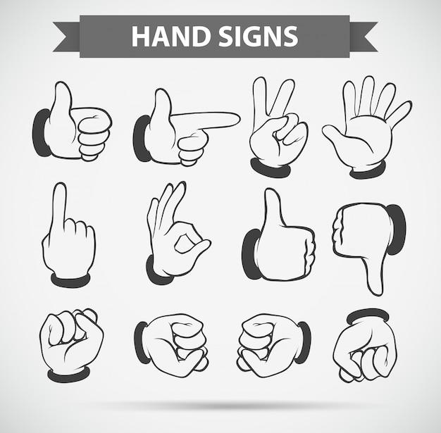 Różne gesty dłoni na białym tle