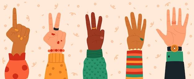 Różne gesty dłoni w płaskiej konstrukcji