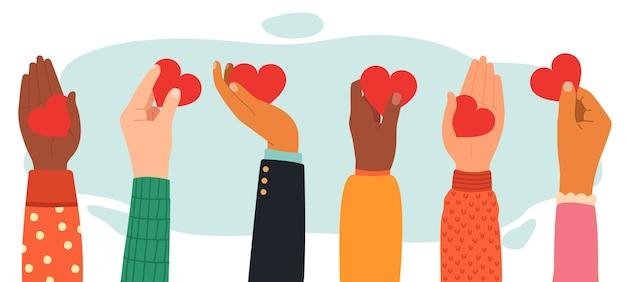 Różne gesty dłoni z sercami w płaskiej konstrukcji