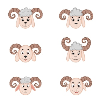Różne głowy owiec z rogami. zwierzęta rysunkowe