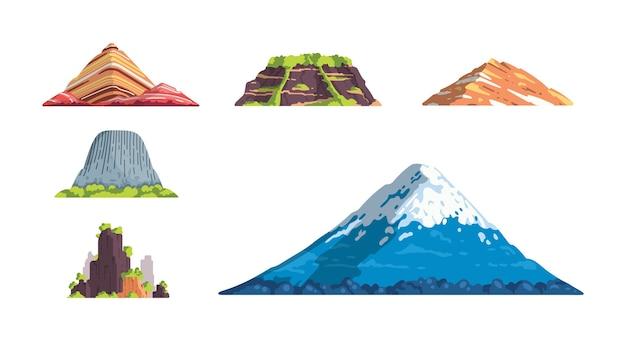 Różne góry krajobraz ilustracja na białym tle w kreskówce. natura elementy sylwetka góry se. podróże lub wędrówki górskie.