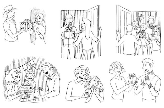 Różne grupy ludzi z prezentami, dostawca z pudełkiem. koncepcja dawania prezentu, wakacje. zestaw ilustracji gryzmoły. ręcznie rysowane wektor zbiory. rysunki konturowe na białym tle.