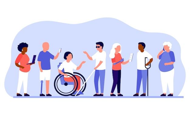 Różne grupy osób niepełnosprawnych pracują razem w biurze