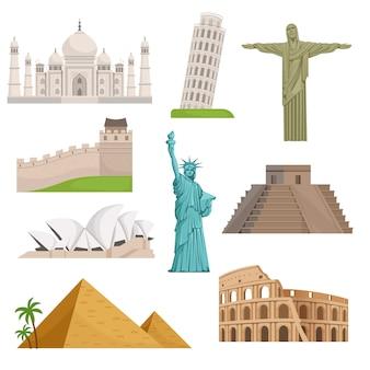 Różne historyczne słynne zabytki. miejsca na świecie. ilustracje wektorowe