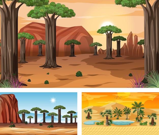 Różne horyzontalne sceny natury w stylu kreskówek