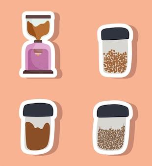 Różne ikony kawy