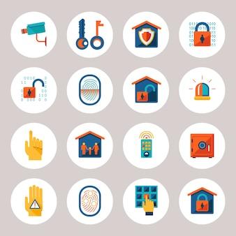 Różne ikony ochrony nieruchomości na białym tle na szarym tle.