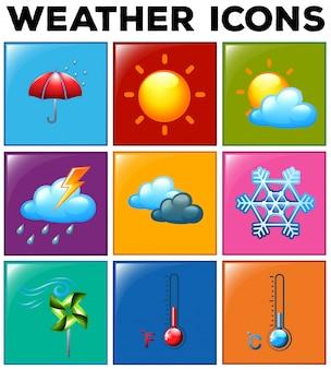 Różne ikony pogody na kolorowym tle