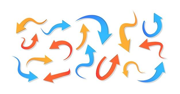 Różne ikony strzałki ustawiają koło, w górę, kręcone, proste i skręcone. streszczenie zakrzywione kolorowe strzałki.