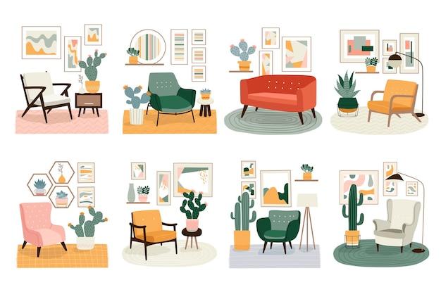 Różne ilustracje z uroczymi minimalistycznymi wnętrzami z nowoczesnymi meblami i roślinami z połowy wieku. modne, skandynawskie wnętrze hygge.