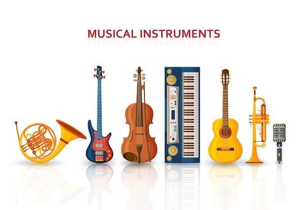 Różne instrumenty muzyczne na białym tle