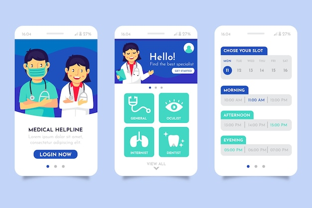 Różne interfejsy aplikacji rezerwacji medycznej