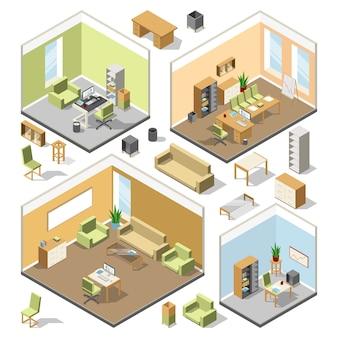 Różne izometryczne przestrzenie robocze z meblami segmentowymi. wektor 3d plan architektoniczny.