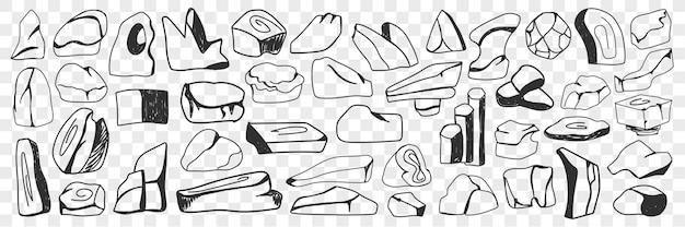 Różne kamienie i wlewki doodle zestaw. kolekcja ręcznie rysowane kamienie o różnych kształtach i fakturach oraz wlewki na białym tle.