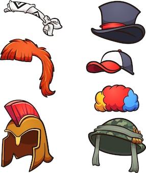 Różne kapelusze i peruki z kreskówek