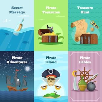 Różne karty z motywem pirata. wektorowe ilustracje z miejscem dla twój teksta. piracka karta poluj na skarby i przygody